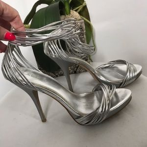 Silver Strappy Heels with Zip Up Backs Sz 10
